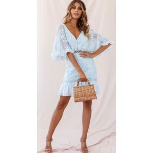 NWT Selfie Leslie Baby Blue Embroidered Dress S